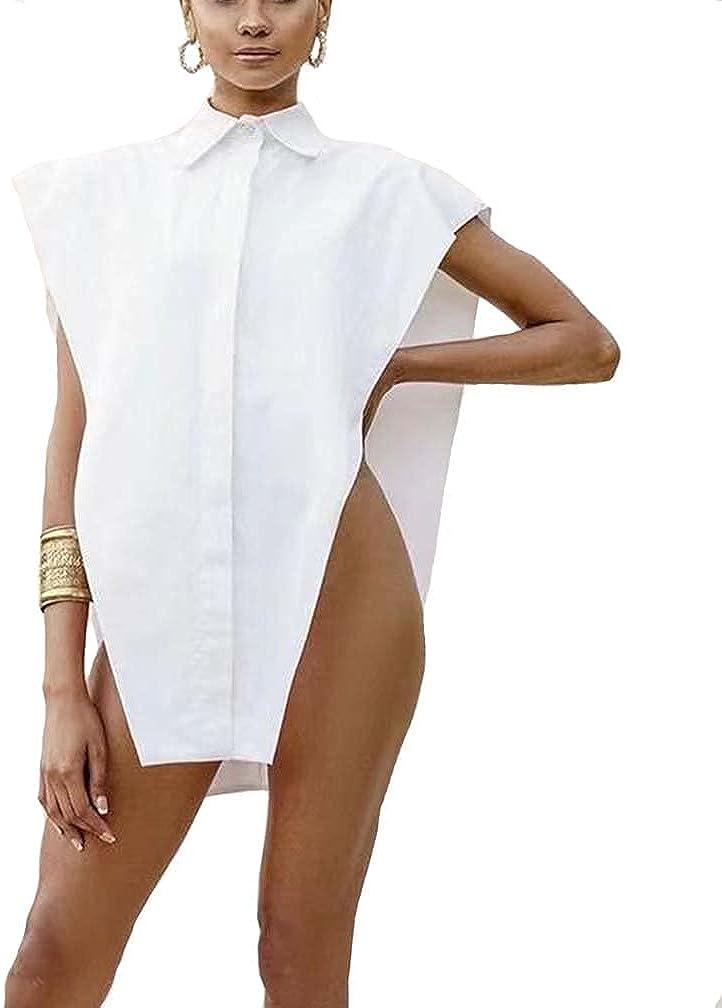 Women Sexy Sleeveless Drop Shoulder Button Down Blouse Oversize Party Shirt Turn Down Collar Top Shirt Clubwear