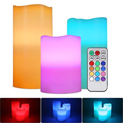 ALED LIGHT Velas de LED sin Llama, Pack de 3 RGB Multicolores Electrico Velas Luces de Cera Reales Velas Pilas Electricas con Mando a Distancia y Temporizador Velas Decorativas para Decoración, Bodas
