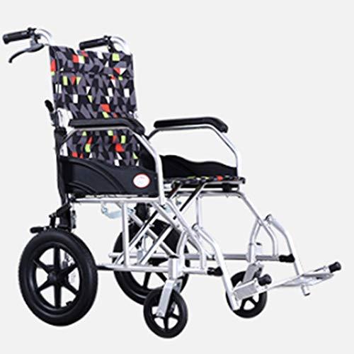unknow Leichte zusammenklappbare Aluminiumlegierung Rollstuhlfahrer Medizinische medizinische Versorgung für Erwachsene, Rollstuhlreisebehindert Tragbarer Kombi Komfortabel