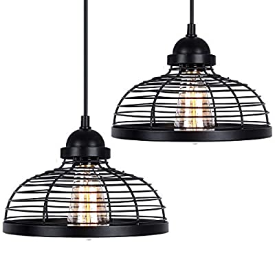 Industrial Pendant Light, 2 Pack Farmhouse Ceiling Lights, Adjustable Black Vintage Metal Hanging Lighting Fixture, Edison Kitchen Lamp for Dining Room Entryway Foyer Hallway Barn (Bulb not Included)