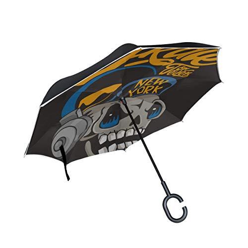 Double Layer Inverted Travel Reversible Umbrella Skull Kopf der Skateboards Inverted Umbrella für Mädchen Fold Umbrella Kinderwagen Winddichter UV-Schutz für Regen mit C-förmigem Griff