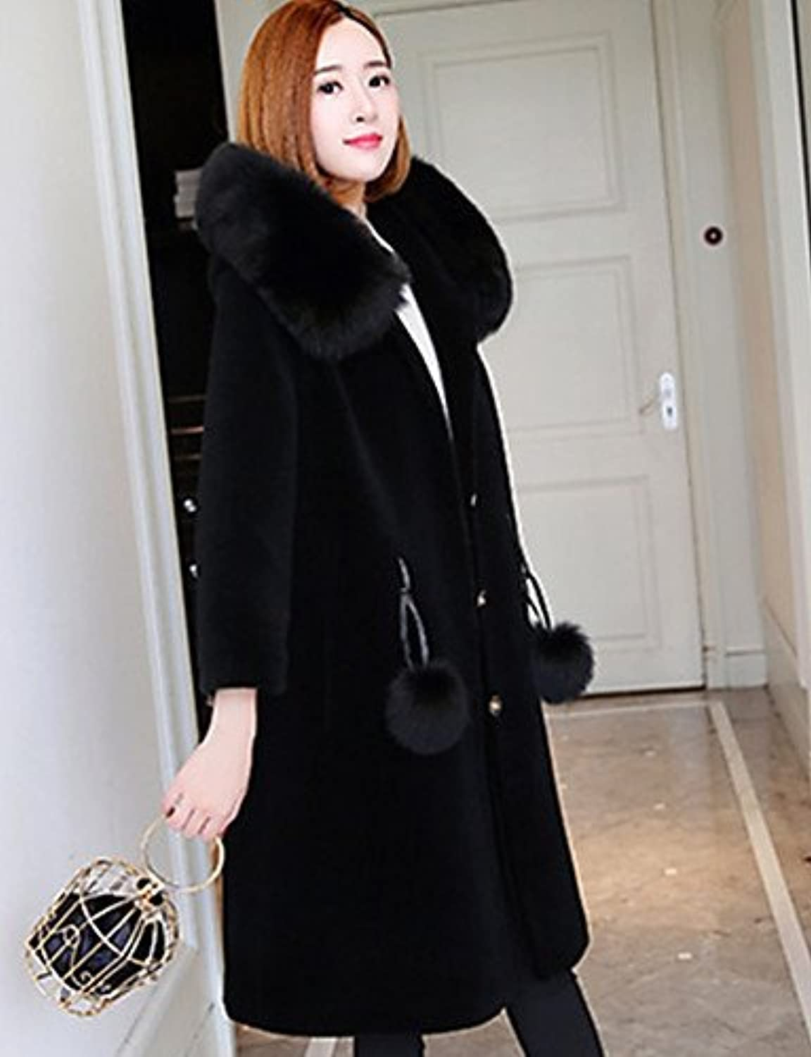 Xuanku Women's Party Holiday Vintage Winter Fur Coat,Solid Stand Long Sleeve Long Others