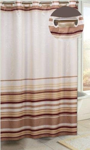 Carnation Home Fashions EZ On Duschvorhang aus Stoff, gestreift, Braun