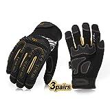Vgo 3Pairs High Dexterity Heavy Duty Mechanic Glove, Rigger Glove,...