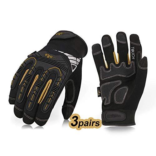 Vgo 3 Paare hohe Mechnische Arbeitshandschuhe, für große Belastungsarbeit, Vibration-Schutz-Handschuhe, Heavy Duty (8/M, Schwarz + Gold, SL8849)