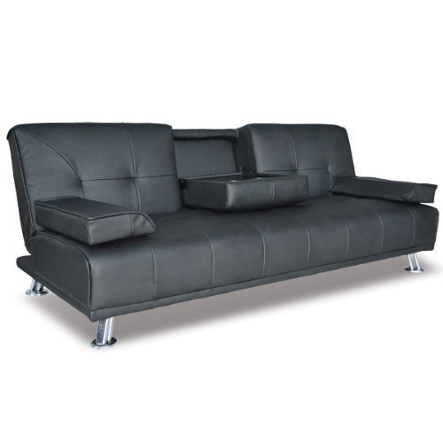 New Modern Cinema Black Faux Leather 3 Seater Sofa Bed 12 Months Guarantee Wi...