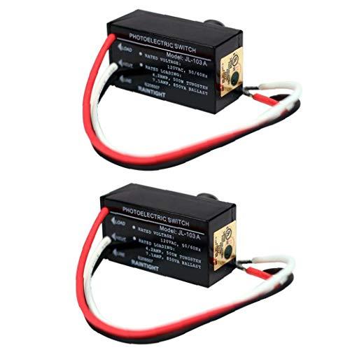 EElabper Fotozelle Lichtschalter Steuerung Jl-103a Mini Auto mit Abenddämmerung Dämmerung Sensor für Outdoor-Nachtbeleuchtung 2 Stück