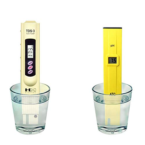 SunGrow Digital pH and TDS Meter Set, Accurate Readings, Easy to Read LCD Screen, Monitor Aquarium, Fruit, Tap Water, Pool Water, 4 LR44 Batteries Included