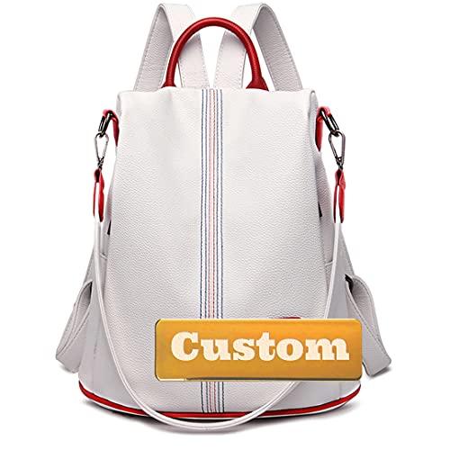 Claiyi Nome personalizzato Una spalla per le donne Grande borsa da zaino Borsa da donna Borsa nera (Color : White, Size : One size)