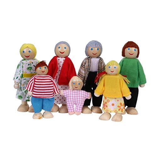 Plüschtiere Puppe Familienpuppe aus Holz Babypuppe Spielzeug Eltern-Kind-Gelenkpuppe Sieben Puppen Kinder Mädchen schöne glückliche Familie Spielset Holzfiguren Set von 7 afrikanischen Spielzeug