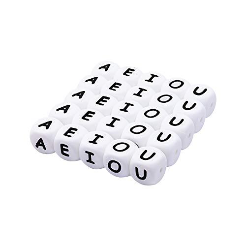 Mamimami Home 40pc Alphabet Letter Food Grade Silikon Kauen Perlen für Zahnen Halskette In 26 Buchstaben Silikon Buchstaben Perlen