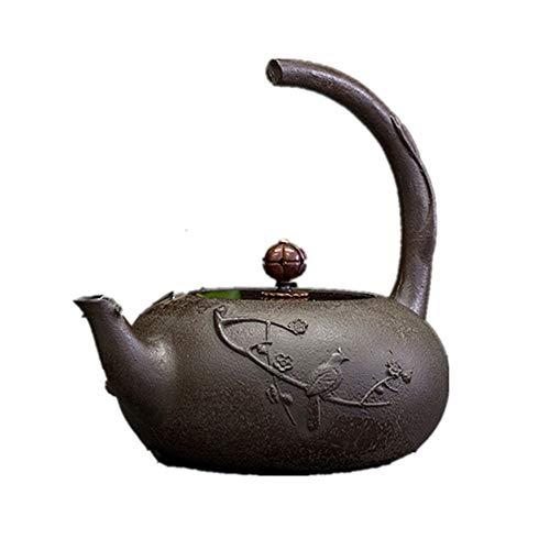 BGROEST-hm Handgemachte Vintage Wasserkocher Japanischer Tee-Kessel aus Gusseisen Teekanne, Novel Gebrochene Handgriff-Entwurf, Vintage Style japanischer Kessel (Zwei Arten) (Farbe : Black1)