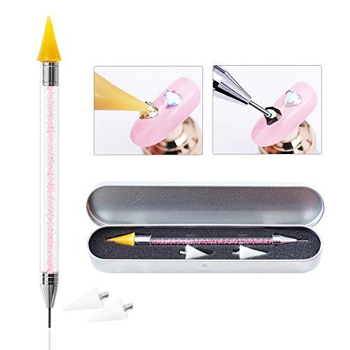 Gcroet 1PCS Nail Art Double Terminé Choisir Pen Rhinestone Picker Applicateur Acrylique PoignéE Cire Dotting Pen Avec éTui De Rangement MéTallique (Rose)