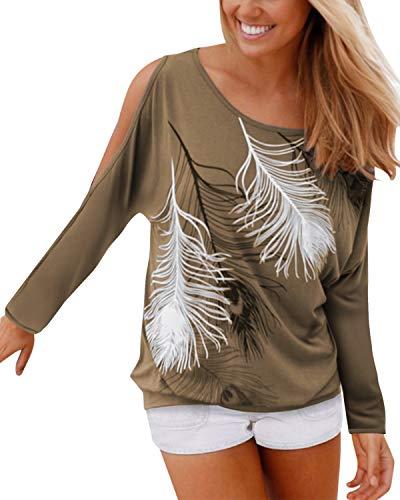 YOINS Bluse Damen Schulterfrei Oberteil Damen Langarm Off Shoulder Top Herbst Fledermaus Shirt Feder Print