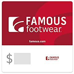 Card redeemable at Famous Footwear, Famous Footwear Outlet, and famous.com. Only valid in the U.S. Call 1-888-9FAMOUS (1-888-932-6687) or go to famous.com to find the store nearest you. Redemption: Instore and Online No returns and no refunds on gift...
