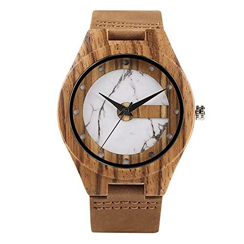 GIPOTIL Reloj de Pulsera de Madera de Cuarzo con Pantalla de Puntos Verdes de mármol/Jade, Reloj deMadera Natural de Cueropara Hombrescon Caja de bambú Natural, Blanco con Caja