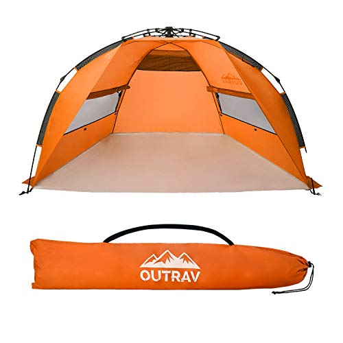 Outrav Pop Up Beach Tent - Quick and Easy Set Up, Family Size, Portable Sun and Water Shelter and Shade Canopy - for Fishing, Camping, Hiking and Outdoor Activities