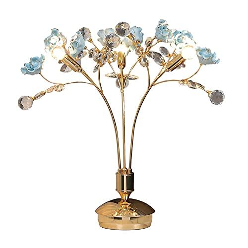 SHIJIE1701AA Lámpara de Mesa Lámpara de Mesa Moderna para Sala de Estar - Lámpara de Noche de Lujo con Flores Azules, lámpara de Mesa de Cristal Noche Lámpara de Mesa