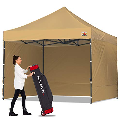 ABCCANOPY Heavy Duty Ez Pop up Canopy Tent with Sidewalls 10x10, Beige