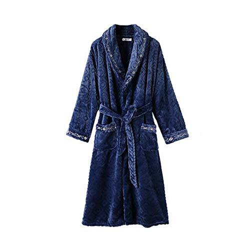 Unbekannt NAN Liang Herren Bademäntel, verdicken Winter-Modelle Baumwollpyjamas Langer Abschnitt Bequeme warme Taschen-A-Gurt M/L/XL/XXL/XXXL Halten (Size : XL)