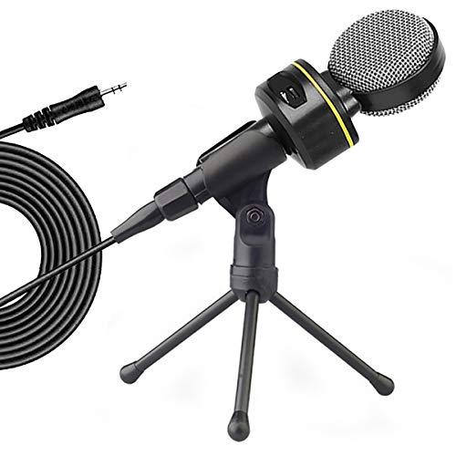 DERCLIVE Micrófono de Condensador 3. Micrófono de Computadora de 5 Mm con Trípode Ideal para Chatear en Línea Podcast Grabación de Voz Negro