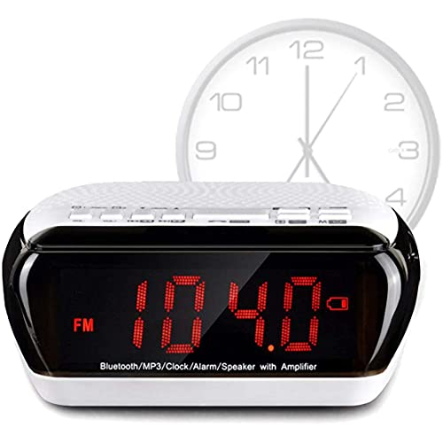 Reloj despertador electrónico para escritorio, altavoz inalámbrico Bluetooth, pantalla LED de 3,5 pulgadas, MP3, radio estéreo de 360 grados, temporizador de sueño, despertadores