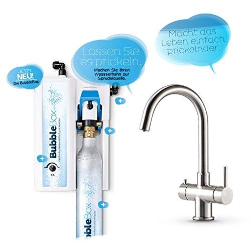 BubbleBox Sprudel aus dem Wasserhahn! Untertisch-Trinkwassersprudler inkl. 3-Wege-Armatur Impreza INOX und Anschluss-Set. Macht das Leben einfach prickelnder! Bubble Box