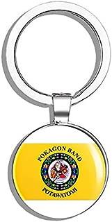 HJ Media POKAGON Band of POTAWATOMI Tribe (Seal Logo Flag Native) Metal Round Metal Key Chain Keychain Ring