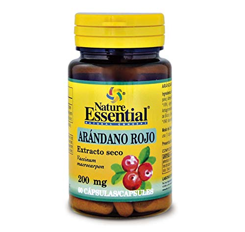 NATURE ESSENTIAL | Arándano Rojo 5000 mg | Extracto Seco 200 mg | Gran Efecto Antioxidante y con Vitamina C | 60 Cápsulas