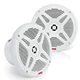 6.5 Inch Bluetooth Marine Speakers - 2-way IP-X4 Waterproof and Weather Resistant Outdoor Audio Dual Stereo Sound System with 600 Watt Power and Low Profile Design - 1 Pair - Pyle PLMRBT65W (White)