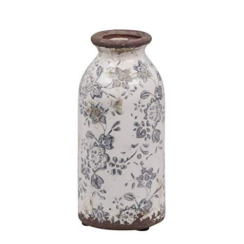 L'Héritier Du Temps Vase Soliflore Pichet Broc Pot de Fleurs Décoration Intérieur Extérieur en Terre Cuite Emaillée Blanche et Bleue 7x7x16cm