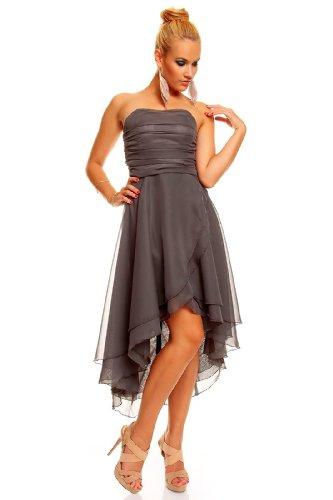 Knielanges Bandeau Kleid Chiffon Ballkleid Abendkleid Cocktailkleid Festkleid XS (32) Grau