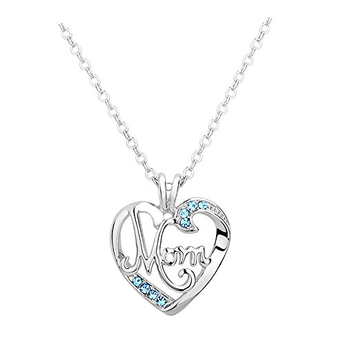 Mother's Birthday Gift - I Love Mom Heart Pendant Necklace Fashion Jewelry Mother's Day Gift Blue