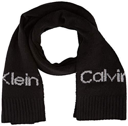 Calvin Klein Scarf LG Logo 40X180 Set di Accessori Invernali, Nero, Etichettalia unica Donna