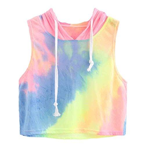 Amlaiworld Damen Sommer Strand Happy T-Shirt elegant Mädchen Niedlich pullis Mode Farbverlauf bauchfrei Oberteile Sport locker Gemütlich Bluse (M, A, Blau)