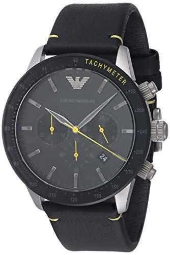 Emporio Armani Reloj cronógrafo de cuarzo con esfera negra para hombre AR11325