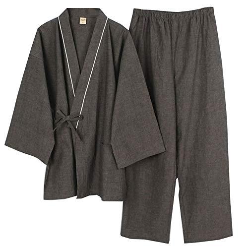 Fancy Pumpkin Camicia da uomo in cotone giapponese Vestaglia in cotone Camicia da notte in pigiama Kimono [Taglia L]