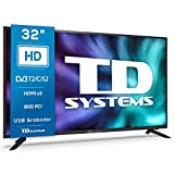 TD Systems K32DLG12H - Televisores 32 Pulgadas HD, 800 PCI Hz, 3X HDMI, USB Grabador Reproductor, DVB-T2/C/S2 Modo...