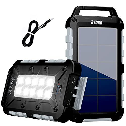RYOKO Solar Powerbank 20000mAh,Schnellladung Solarladegerät mit 2 Ausgänge 2.1A,Power Bank Hohe Kapazität mit LED-Taschenlampe, wasserdichte Powerbank Solar für Smartphones, Tablets(Gray)