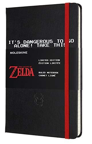 Moleskine - Cuaderno Temático Edición Limitada The Legend of Zelda, Diseño de Espada, Cuaderno con Hojas de Rayas, Tapa Dura y Gráficos Temáticos, Tamaño Grande 13 x 21 cm, Color Negro, 240 Páginas