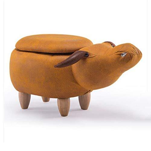 NAN liang Tabouret de rangement rembourré pour animaux, avec dessin animé, Tabouret bas de forme animale pour banc de chaussure (Couleur : Orange)