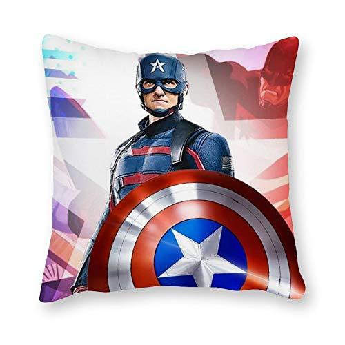 Cojín de Capitán América – Pop Art – Funda de lona individual – Sin relleno – 40 x 40 cm (solo funda)
