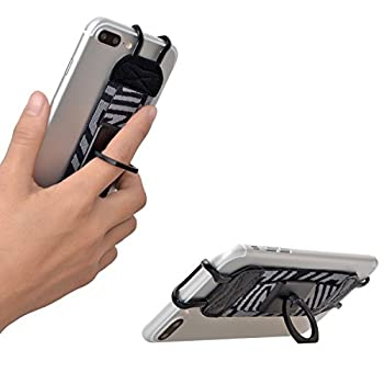TFY Security Hand Strap with 360°Rotation Metal Ring Finger-Grip Holder & Stand for iPhone 6 Plus / iPhone 6s Plus / iPhone 7 Plus/ 8 Plus