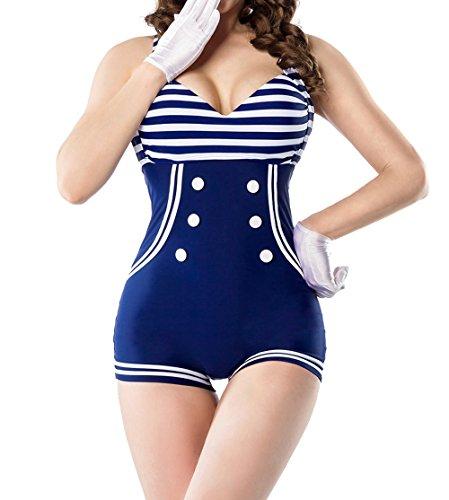 Retro Vintage Damen Badeanzug gepaddet blau weiß mit Zierschleife Bademode Marine Look M Retro