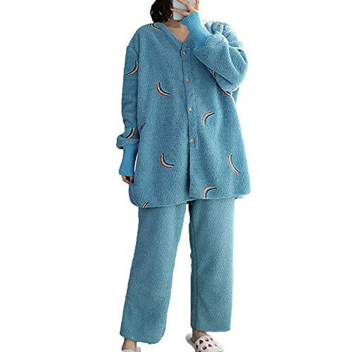 Damen Flanell Pyjama Set Lose Verdicken Plus Kaschmir Heimanzug