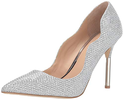 Jewel Badgley Mischka Women's RILEY Shoe, Silver Fabric, 5.5 M US