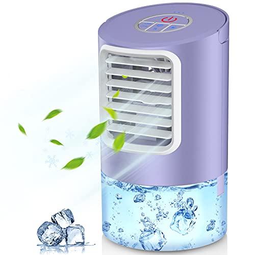 Climatiseur Portable, Mini Refroidisseur D'air Portable Ventilateur de Climatisation Personnel Portable Refroidisseur Mobile Air Humidificateur pour Bureau Chambre 3 Vitesses,2/4h Timer- 7 Couleurs