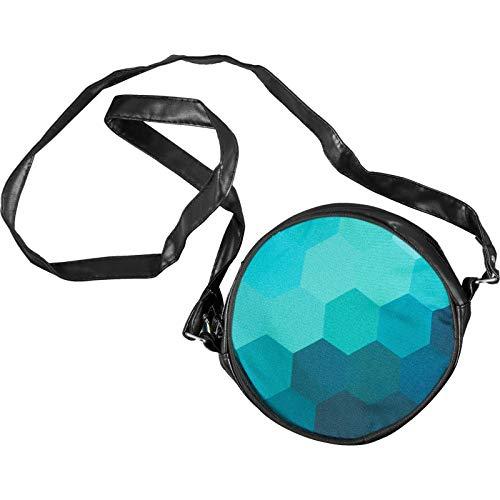 cosey - Runde Kunstleder Damen Umhänge Tasche mit Print Design - Hexagon Blau