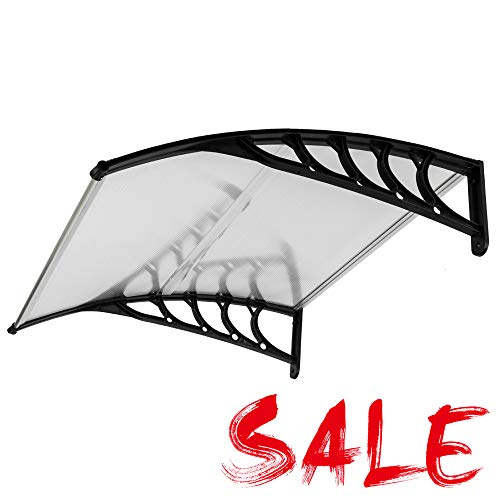 TOEIGEYNR Awnings for Patio, Outdoor Awning Window, Door Awnings Exterior Aluminum Front Door Patio Canopy UV Rain Snow Sunlight Protection Hollow with ABS Curved Bracket (40 x 40 Inch)