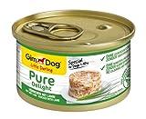 GimDog Pure Delight, pollo con cordero - Snack para perros rico en proteínas, con carne tierna en deliciosa gelatina - 12 latas (12 x 85 g)
